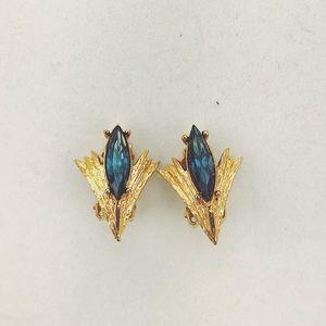 Vintage 50s 60s Blue Rhinestone Clip on Earrings